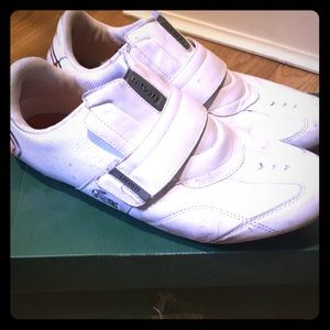 White leather LACOSTE swerve trainers. Men's sz10